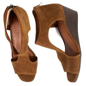 LUCKY Suede Ankle Strap Stacked Wedge Sandal 9.5